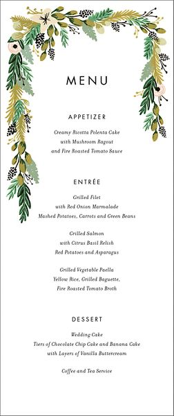 Wildflower Menu