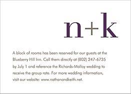 Initials Wedding Information Card