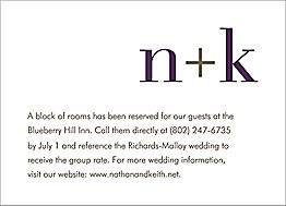 Initials Wedding Information Card