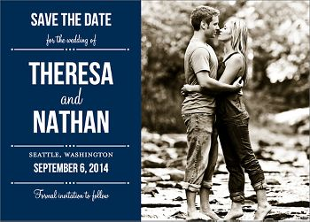 Playbill Photo Save the Date Card - Horizontal