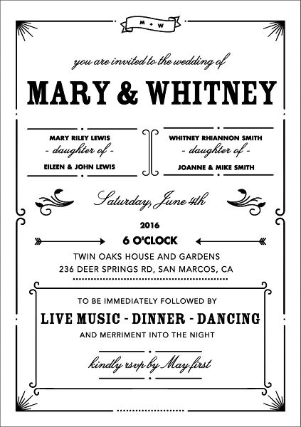 Bistro Wedding Invitation