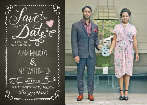 Chalkboard Photo Save the Date Card