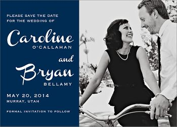 French Script Photo Save the Date Card