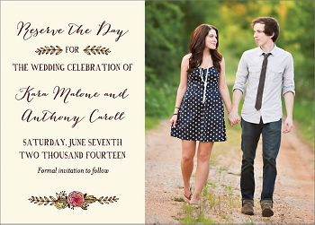 Watercolor Laurel Photo Save the Date Card