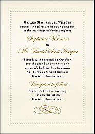 Beaded Border Wedding Invitation