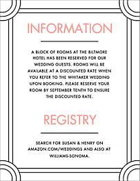 Deco Border Wedding Information Card