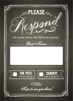 Chalkboard Border Wedding Response Card