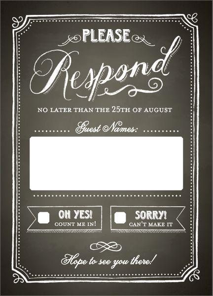 Chalkboard Border Wedding Response Card
