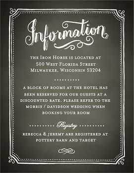Chalkboard Border Wedding Information Card