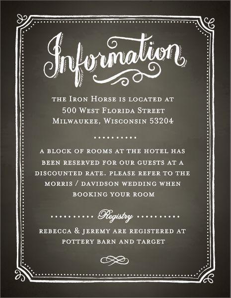 Chalkboard Border Wedding Information Card
