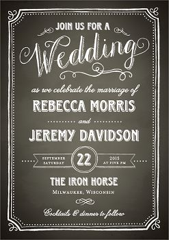 Chalkboard Border Wedding Invitation
