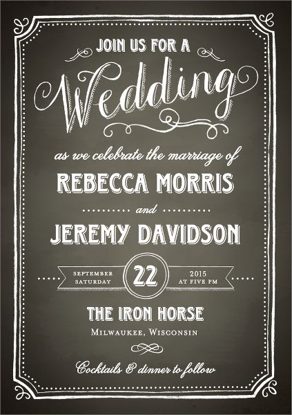 Chalkboard Border Wedding Invitation