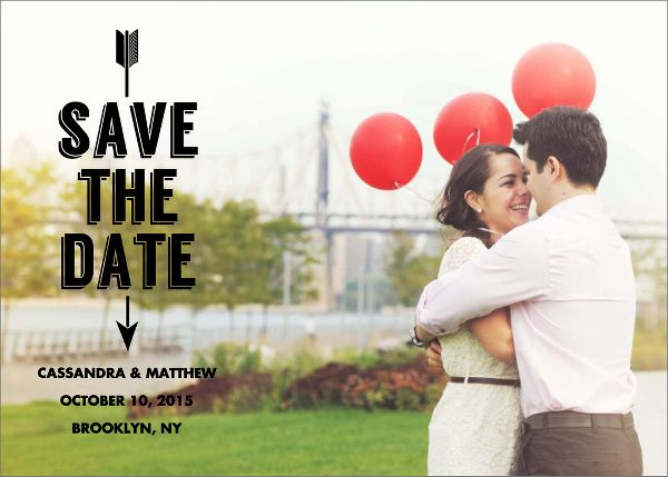 Arrow Photo Save the Date Card - Horizontal