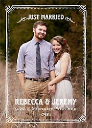 Chalkboard Border Photo Wedding Announcement