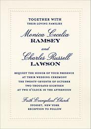 Beaded Border Night Wedding Invitation