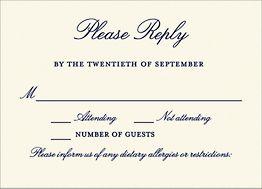 Beaded Border Night Wedding Response Card