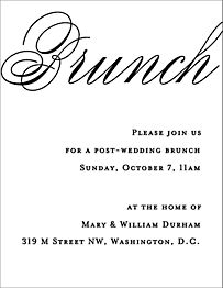 Calligraphy Wedding Brunch Invitation