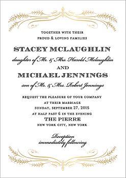 Foil Stamped Filigree Wedding Invitation