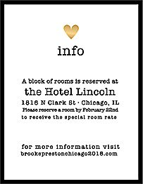 Amour Wedding Information Card