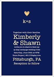 Gold Foil Stamped Amour Color Wedding Invitation
