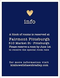 Gold Foil Stamped Amour Color Wedding Information Card