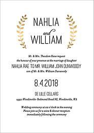 Foil Stamped Laurel Wedding Invitation