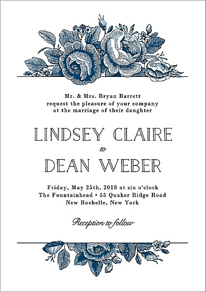 Vintage Fl Wedding Invitation