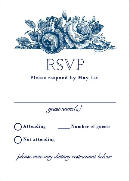 Vintage Floral Wedding Response Card