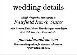 Foil Stamped Boulevard Wedding Information Card