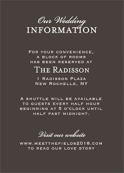 Chandelier Charcoal Wedding Information Card