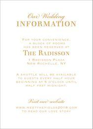 All Foil Chandelier Wedding Information Card