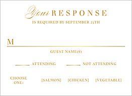 All Foil Paintbrush Wedding Response Card
