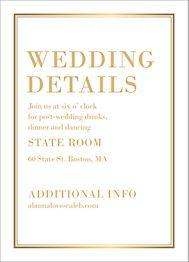 All Foil L'Avenue Wedding Information Card