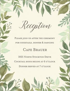 Watercolor Garden Wedding Information Card