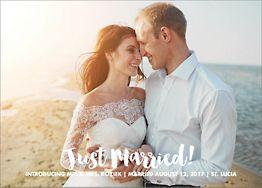 Brush Script Photo Wedding Announcement