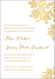 All Foil Colonial Stencil Wedding Invitation