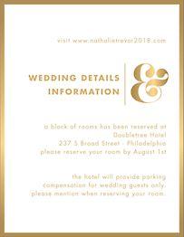 All Foil Ampersand Wedding Information Card