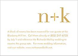 All Foil Initials Wedding Information Card