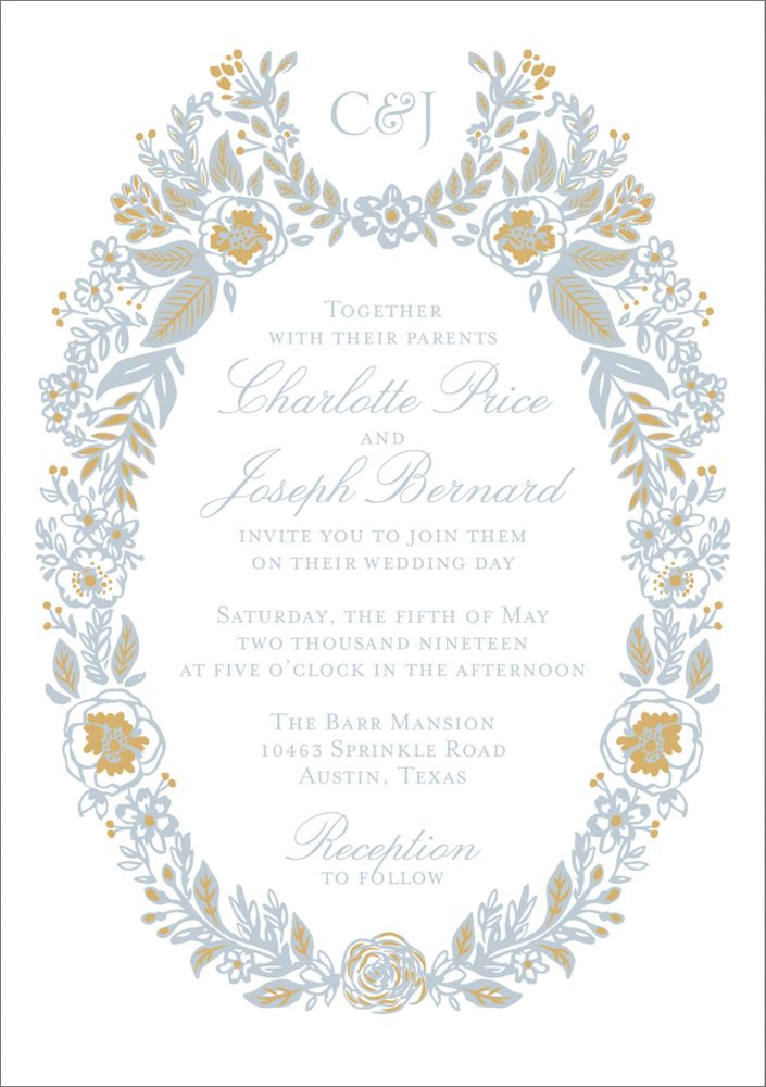 Gold Foil Stamped Topiary Wedding Invitation