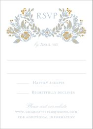Gold Foil Stamped Topiary Wedding Response Card