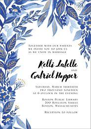 Copper Foil Stamped Indigo Trellis Wedding Invitation