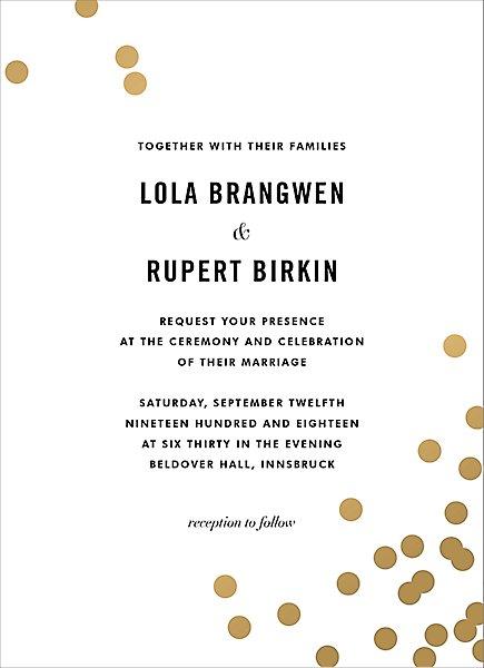 Foil Wedding Invitations.Confetti Foil Wedding Invitation