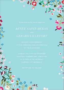 Embroidered Floral Wedding Invitation
