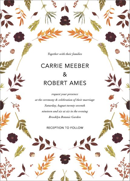 Fleurs d'Automne Wedding Invitation
