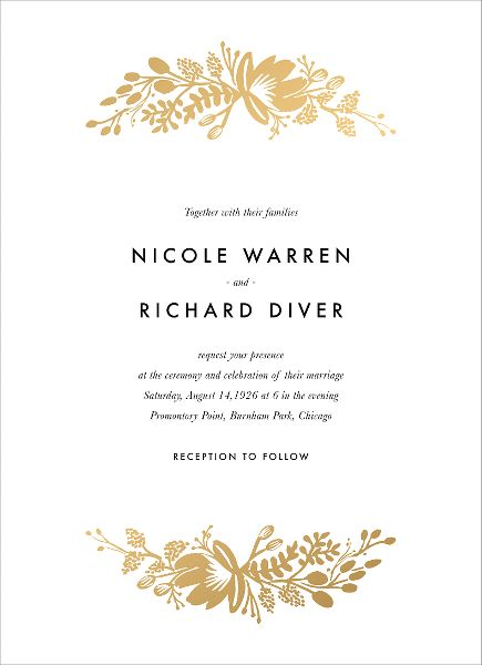 Floral Silhouette Foil Wedding Invitation