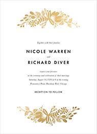 Floral Silhouette Foil Wedding Invitation