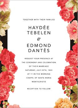 Garden Floral Ikat Wedding Invitation
