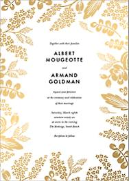 Heather and Lace Foil Wedding Invitation