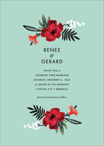 Kona Floral Wedding Invitation