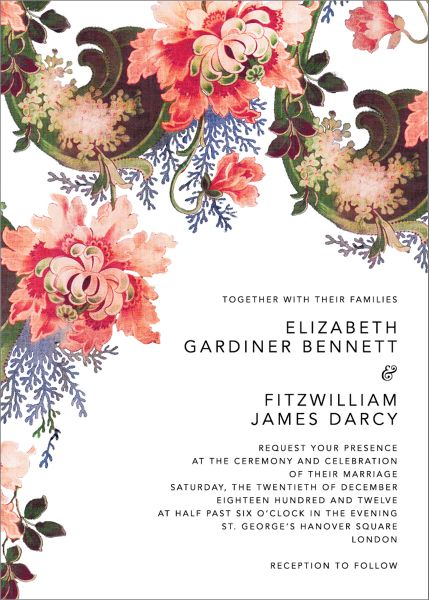 Rose Floral Ikat Wedding Invitation